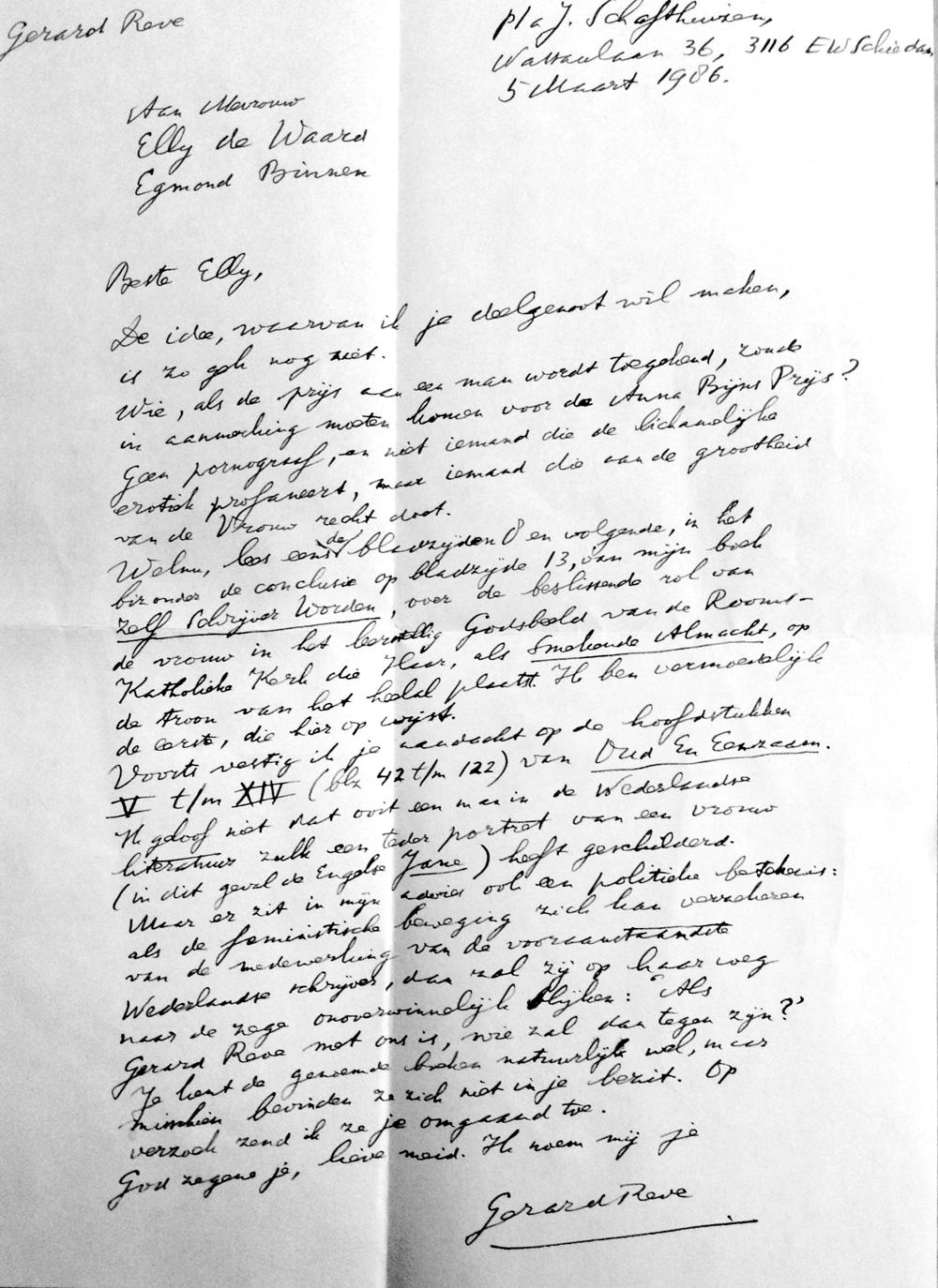 Brief Gerard Reve over de Anna Bijns Prijs,